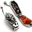 Hinged openable coffin belly ring