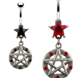 Jeweled star belly ring with dangling jeweled gothic pentacle