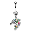 Jeweled belly ring with dangling multi-color dolphin