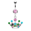Pink jeweled belly ring with dangling multi-color crown