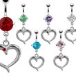 Jeweled belly ring with dangling heart