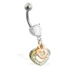 Belly ring with dangling jeweled and Gold Tone hearts