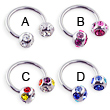 Stainless steel circular (horseshoe) barbell with multi-color jeweled balls, 14 ga