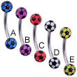 Curved barbell with colored acrylic soccer balls, 16 ga