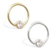 14K Gold captive bead ring with Cubic Zirconia