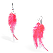 Pink Feather Belly ring and Earring Set