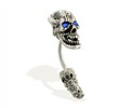 Curved jeweled skull head and tail belly ring