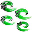 Green glass transparent spiral taper