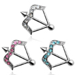 Jeweled bow and arrow nipple ring, 14 ga