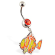 Navel ring with dangling neon fishy