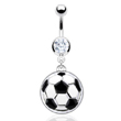 Navel ring with large dangling soccer ball