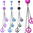 Splatter belly ring with dangling splattered peace signs