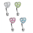 Curved barbell with jewel paved peace heart, 16 ga