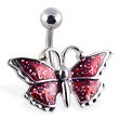 Red glitter fancy butterfly belly ring