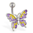 Purple and yellow glitter zig-zag butterfly navel ring
