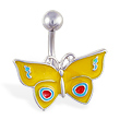 Yellow butterfly belly ring
