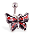 Red and black butterfly belly ring