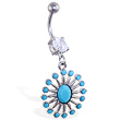 Belly ring with dangling fancy lt blue stoned pendant