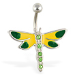 Green and yellow dragonfly belly ring