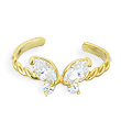 10K real gold spiral toe ring with jeweled butterfly