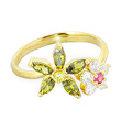 10K real gold mulit-color multi-flower toe ring