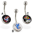 Bird logo belly ring