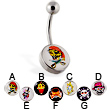 Skull logo belly ring