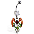 Navel ring with dangling medical cross with wings and snakes