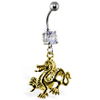 Navel ring with dangling gold colored dragon