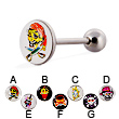 Skull logo tongue ring, 14 ga