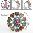 Multi-color multi-gem heart burst flower reversed hinged navel ring