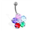 Flower belly ring with 5 multi-color petals