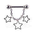 Nipple ring with dangling jeweled chain and hollow stars, 12 ga or 14 ga