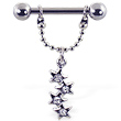 Nipple ring with jeweled stars on chain, 12 ga or 14 ga