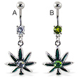 Belly ring with dangling pot leaf with hologram gem