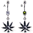 Belly ring with dangling pot leaf with ying-ying