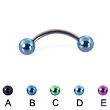 Titanium curved barbell with colored balls, 16 ga