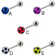 Soccer ball straight barbell, 14 ga
