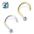 14K Gold Nose Screw with Blue Topaz, 20 Ga