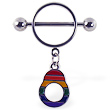Nipple ring with dangling rainbow handcuff
