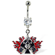 Navel ring with dangling skull with spades, dice, and flame