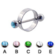 Nipple ring with cat eye balls, 16ga