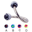 Eye ball spiral barbell, 12 ga