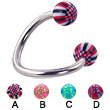 Spiral barbell with acrylic checkered balls, 12 ga