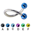 Twisted barbell with colored balls, 12 ga