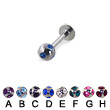 multi gem ball labret, 16 ga