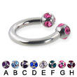 multi gem ball circular barbell, 12 ga