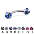 multi gem ball curved barbell, 14 ga