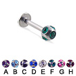 multi gem ball labret, 14 ga
