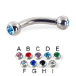 Double jeweled curved barbell, 10 ga